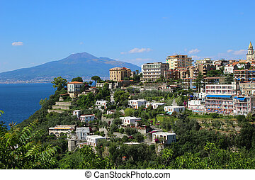 Sorrento, Italy - Ocean view of coastal features of Italy in...