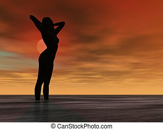 Sunset Nude - Silhouette Illustration of a nude girl in the...