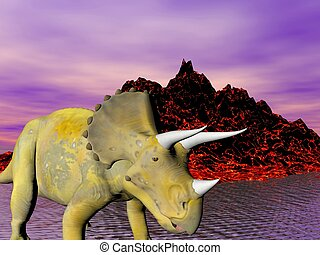 Triceratops an ancient jurassic extinct reptile
