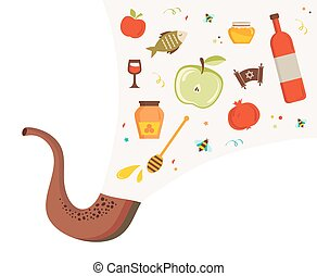 shofar ,horn, with set of icons over textured background....