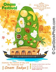 Onam feast on banana leaf - illustration of Onam feast on...