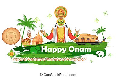 Onam background showing culture of Kerala - illustration of...