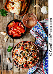 Mexican tomato black beans rice with cilantro. the toning....