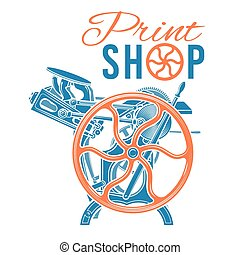 Letterpress print shop vector illustration. Vintage printing...