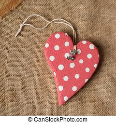 heart - handmade wooden polkadot red heart with love pendant