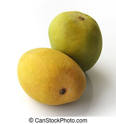 Yellow and Green Alphonso Mangoes - High resolution image of...