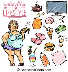 Unhealthy Lifestyle - Woman - Unhealthy Lifestyle. Hand...