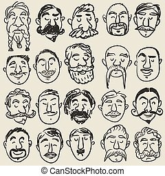 Collection of male faces with mustache - Collection of male...