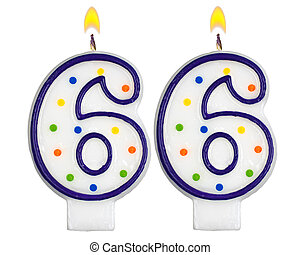 Birthday candles number sixty six isolated on white...