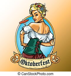 Pretty Bavarian girl eating sausage, Oktoberfest label with...