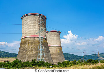 Coal fired power station with cooling towers