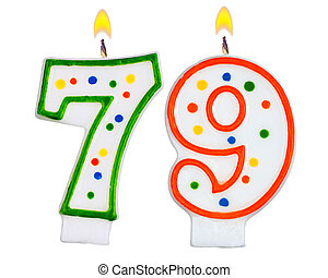 Birthday candles number seventy nine