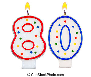 Birthday candles number eighty isolated on white background
