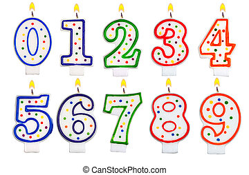 Birthday candles number set isolated on white background
