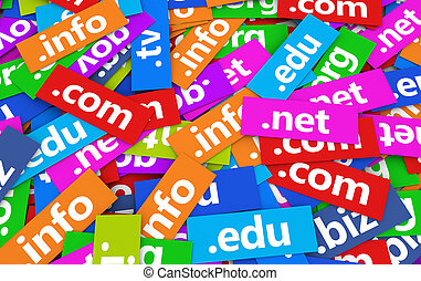 Domain Names Web Concept - Web and Internet domain names...