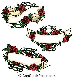 Ribbon banners with roses around. - Ribbon banners with...