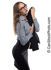 Image of woman holding black jacket