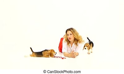 beagle puppy with woman are posing in studio