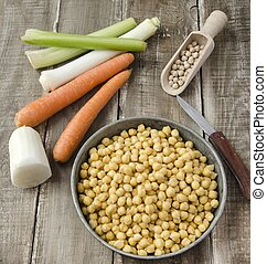 Chickpeas  - Ready to cook chickpeas with vegetables