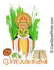 Kathakali dancer face with message Happy Onam