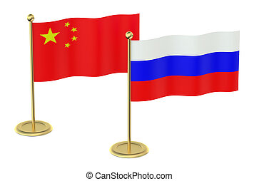 meeting China with Russia concept isolated on white...