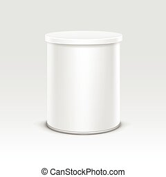 White tin box packaging container for tea coffee isolated vector