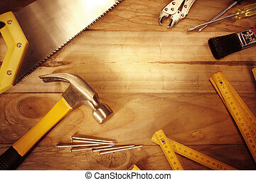 Work tools - Assorted work tools on wood