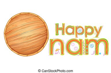 Olakkuda in Happy Onam background - illustration of...