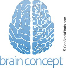 Brain circuit board concept - An abstract illustration of a...