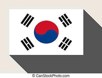 South Korea flag in flat web design style