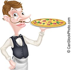 Pizza Waiter - An illustration of a cartoon waiter holding a...