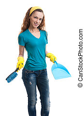 woman with a dustpan and brush isolated on white