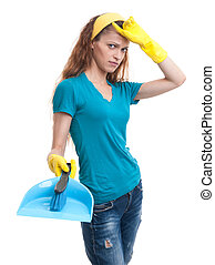 Tired and exhausted cleaning woman Isolated on white
