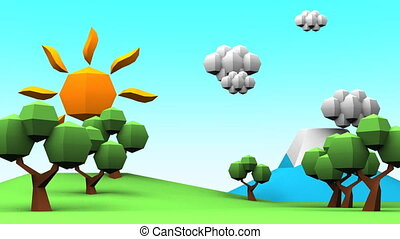 Idyllic Scenery - Loopable Idyllic Scenery Low Poly...