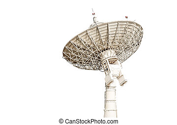 satellite dish antenna radar big size isolated on white...