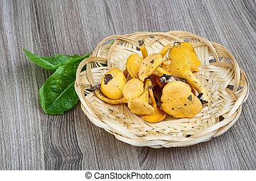 Chanterelle mushroom in the basket on wood background