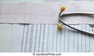 Stethoscope And Patient Charts - Stethoscope lying on a...