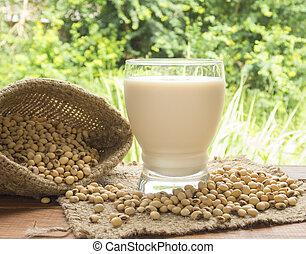 soymilk, soybean milk, in glass for drink