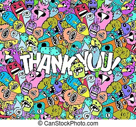 thank you doodle hipster colorful