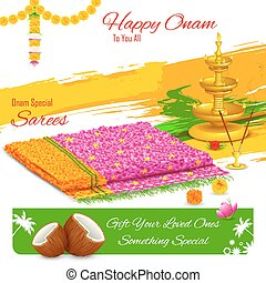Gift of saree in Happy Onam - illustration of gift of saree...