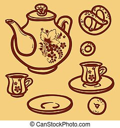 Vector illustration painted teapot and cups