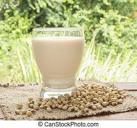 soymilk, soybean milk, in glass for drink.