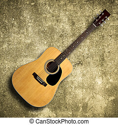 Acoustic guitar on old wall - Acoustic guitar is against old...