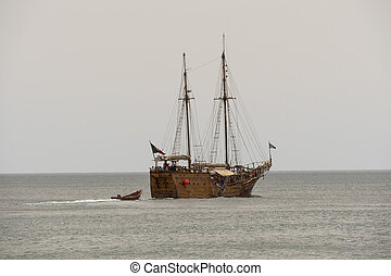 Galleon on the sea, touristic ship