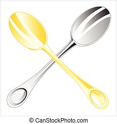 two spoons.eps - Two table spoons on white background is...