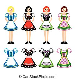 Dirndl - traditional German dress - Vector icons set of...
