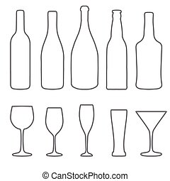 Alcohol thin lines icons set