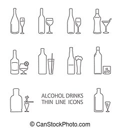 alcohol beverage icons set