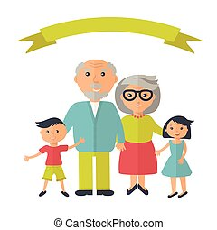Senior grandparents with their grandchilds. People family...