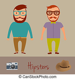 Hipsters character design Two hipster style young mens...